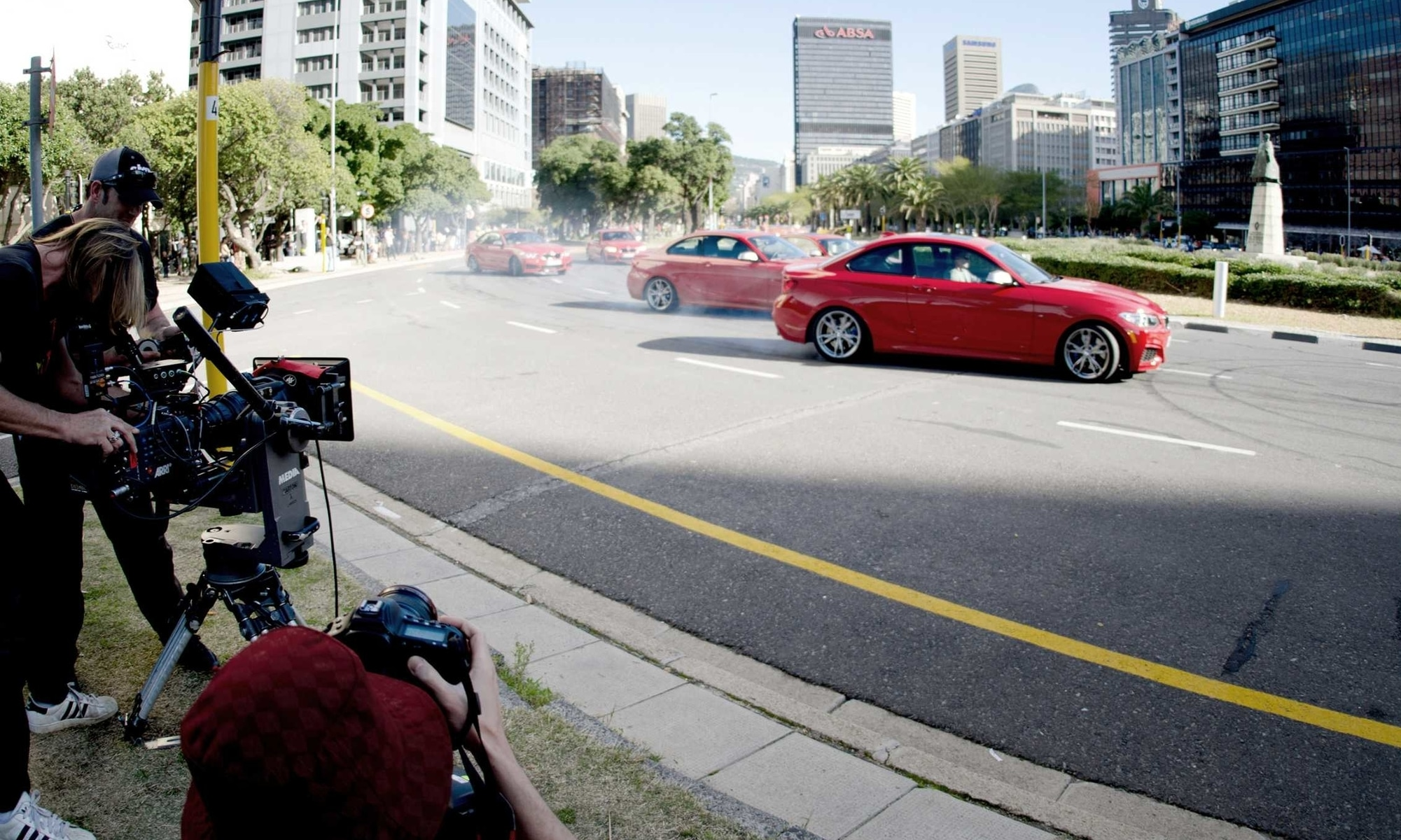 filming BMW drift mob commercial