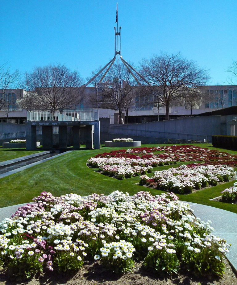 parliament house from the public garden at rear of building