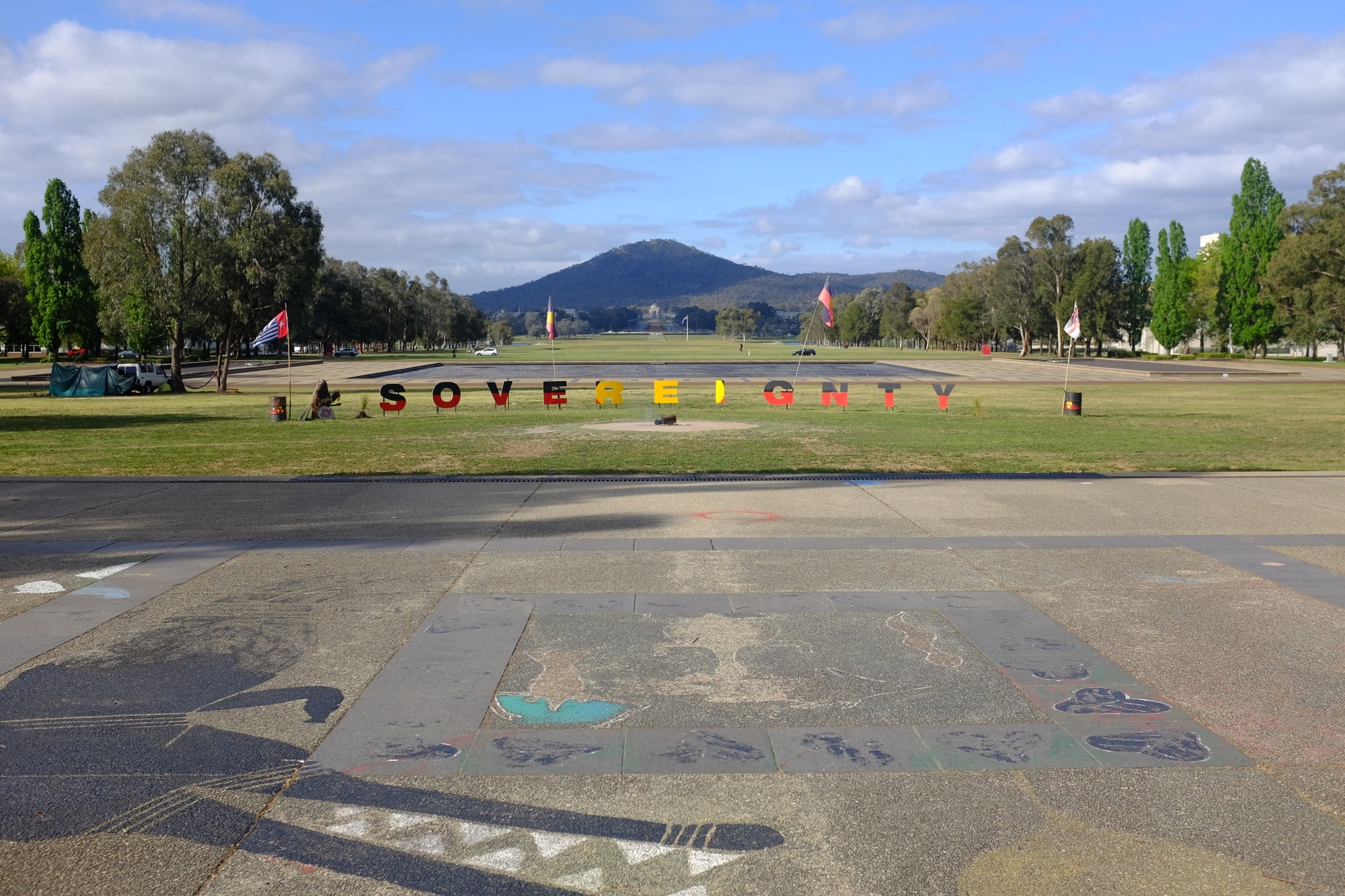 looking towards mount Ainslie from the forecourt of old parliament house