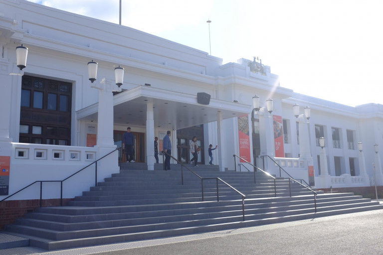 the steps at the front of old parliament house