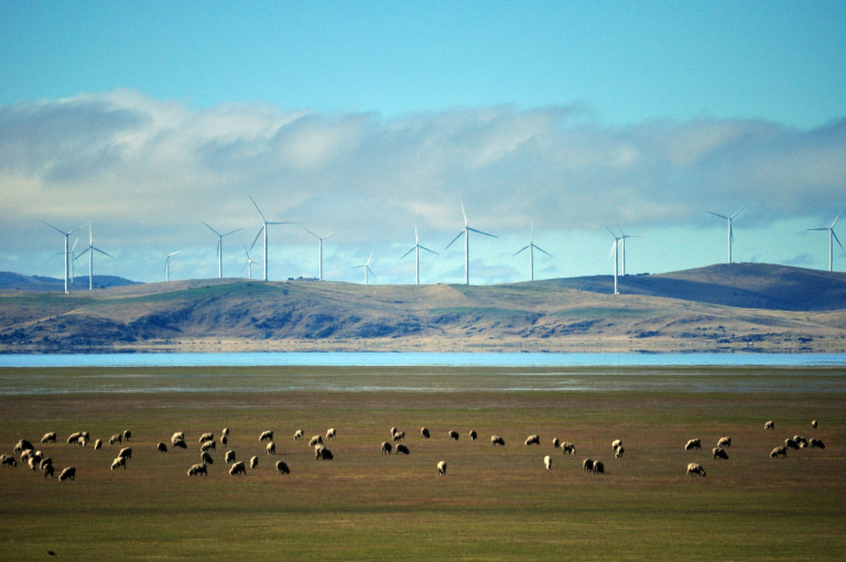 wind turbines above lake george