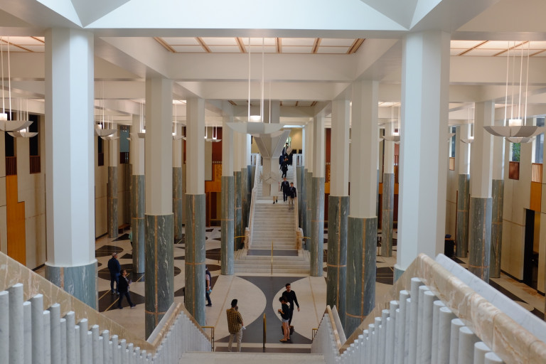 entry foyer at parliament house from top of stairs