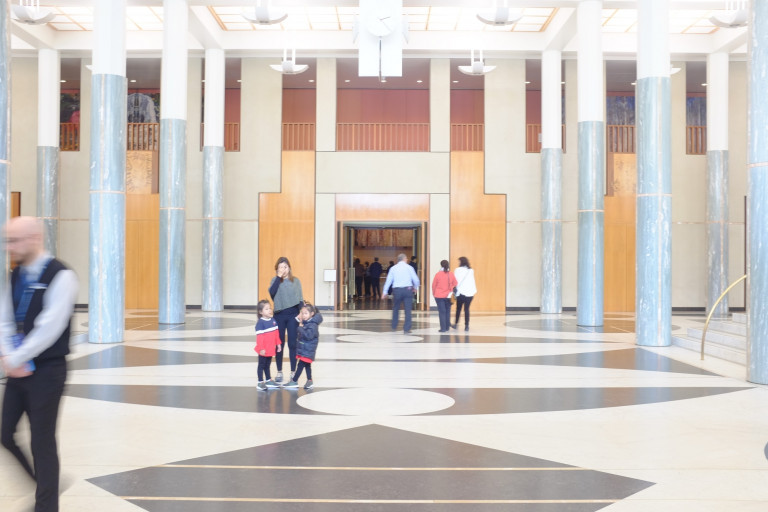 the entry foyer of parliament house, looking through to great hall
