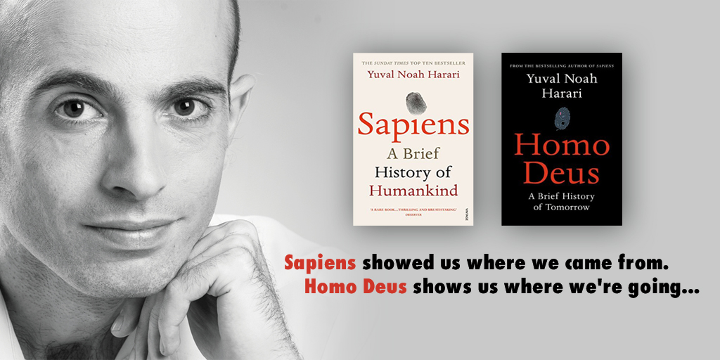 yuval noah harari with covers of sapiens and homo deus