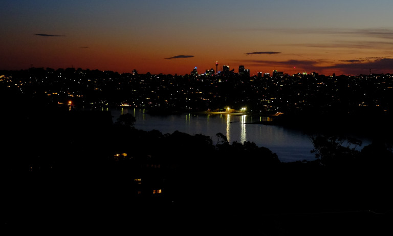 view of Sydney's middle harbour at dusk