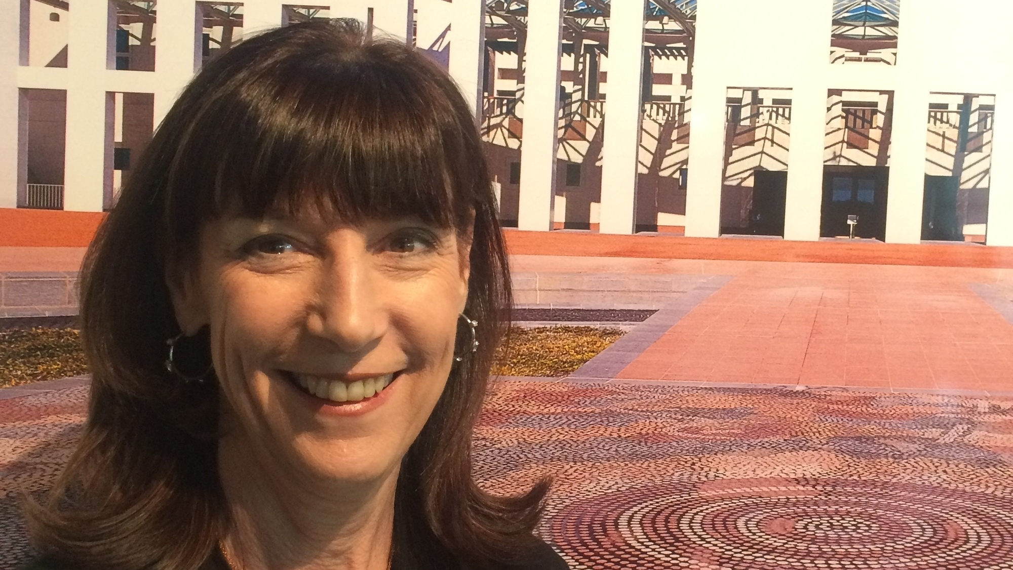 karenne in front of parliament house, canberra