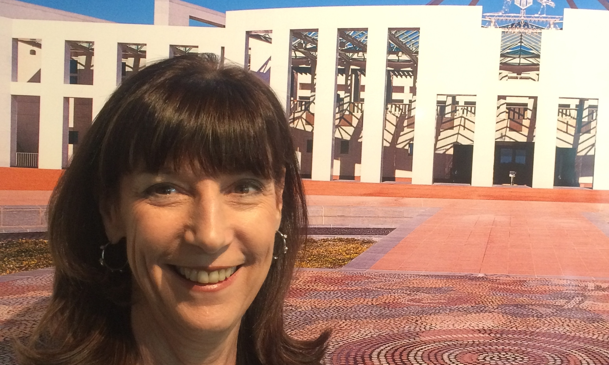 karenne on forecourt of parliament house