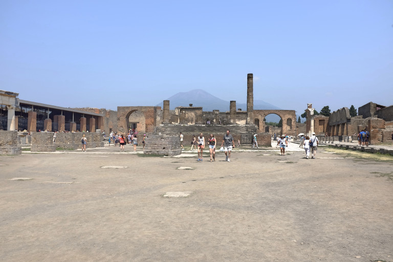Pompeii forum looking towards Mt Vesuvius