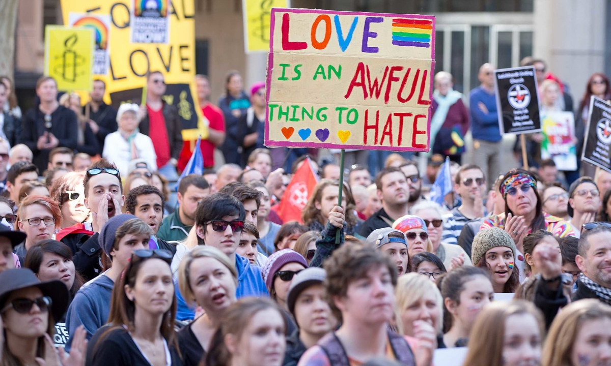 same sex marriage rally in Sydney, September 2017