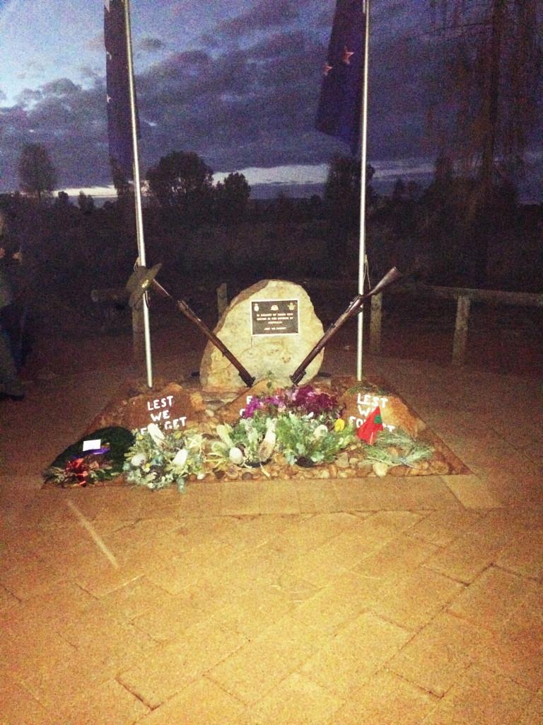 ANZAC memorial near Uluru