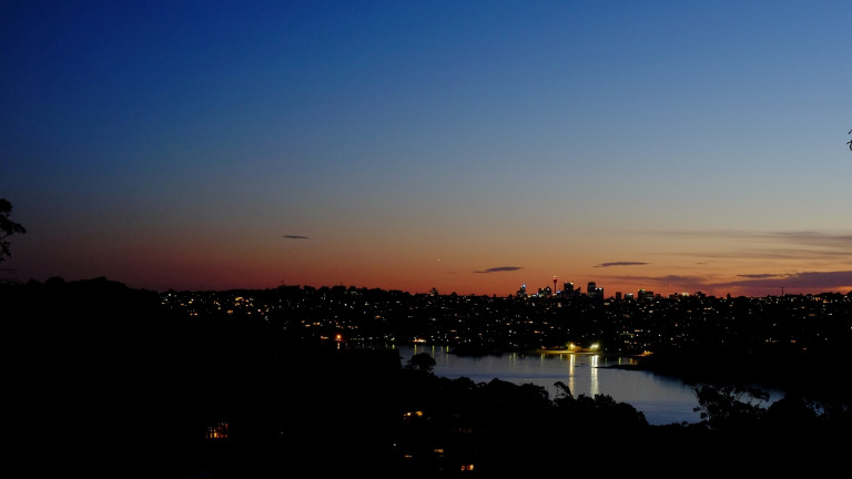 view over Sydney's Middle Harbour at dusk