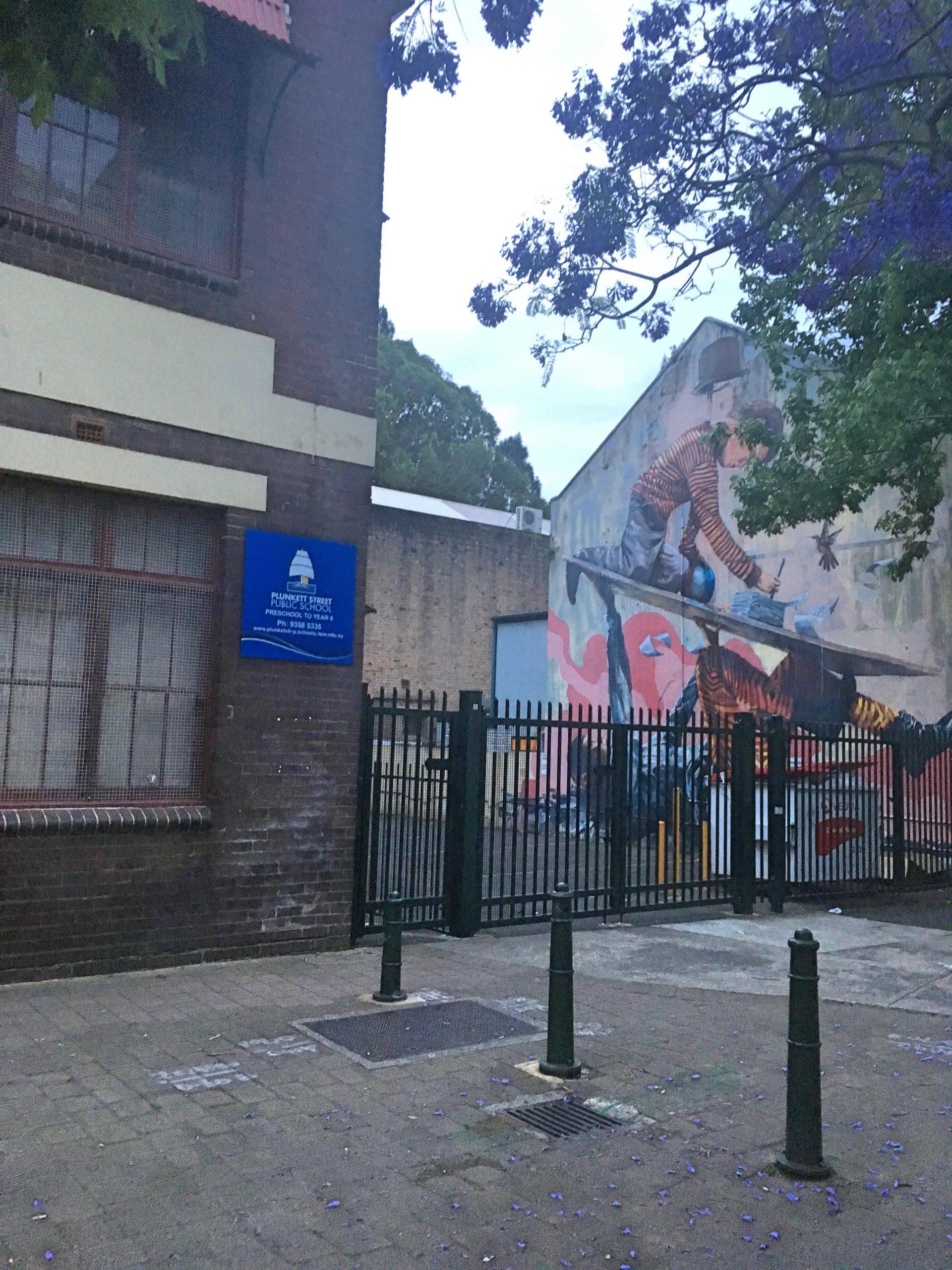 plunkett school from dowling street, woolloomooloo